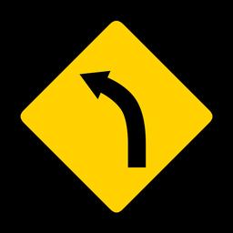 Curva de la flecha de la curva de la carretera de la carretera rombo advertencia plana