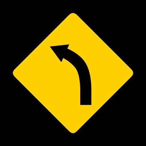 Curva de la flecha de la curva de la carretera de la carretera rombo advertencia plana Transparent PNG