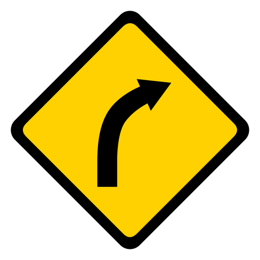 Arrow curve of road bend of road rhomb warning flat Transparent PNG