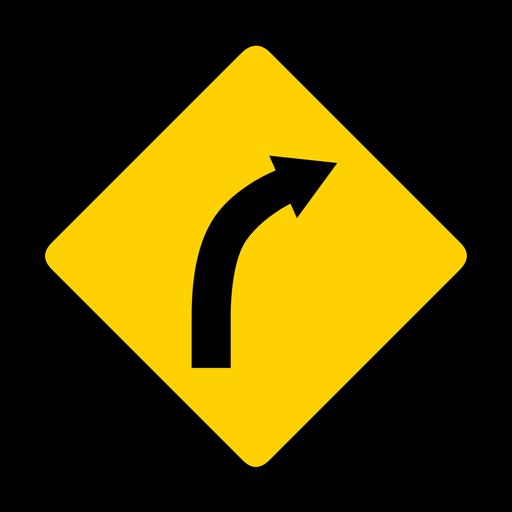 Curva de la flecha de la curva de la carretera del rombo de la carretera de advertencia plana Transparent PNG