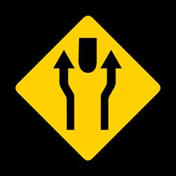Flecha par dos rombos de advertencia plana