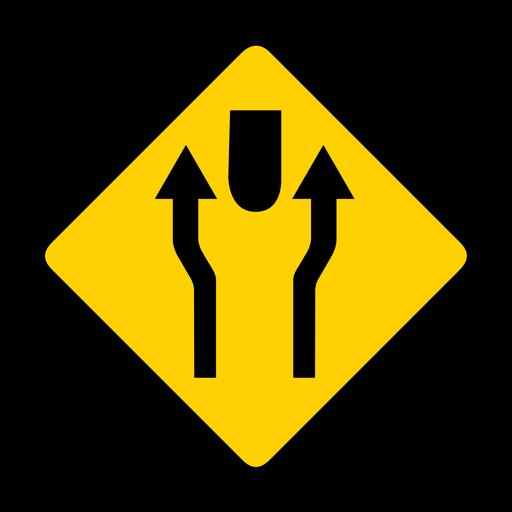 Flecha par dos rombos de advertencia plana Transparent PNG