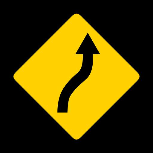 Flecha carretera rombo advertencia plana Transparent PNG