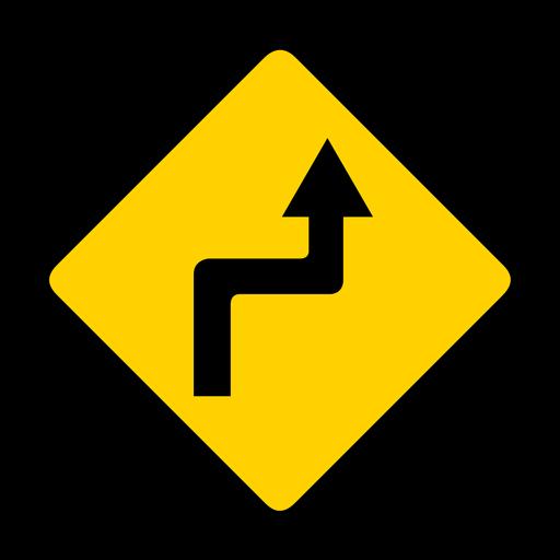 Arrow road turn rhomb warning flat Transparent PNG