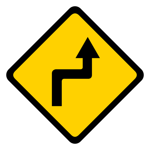 Estrada de seta vira aviso de rhomb plano Transparent PNG