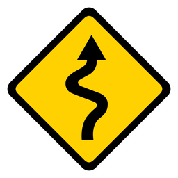 Arrow road weaving section rhomb warning flat