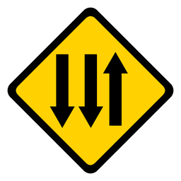 Arrow three direction rhomb warning flat