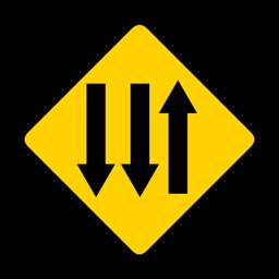 Flecha tres direcciones rombo advertencia plana