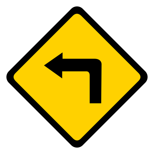 Arrow turn left rhomb warning flat