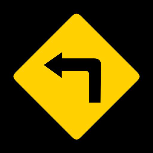 Flecha girar a la izquierda rombo advertencia plana Transparent PNG