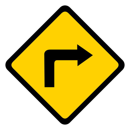 Arrow turn right rhomb warning flat Transparent PNG