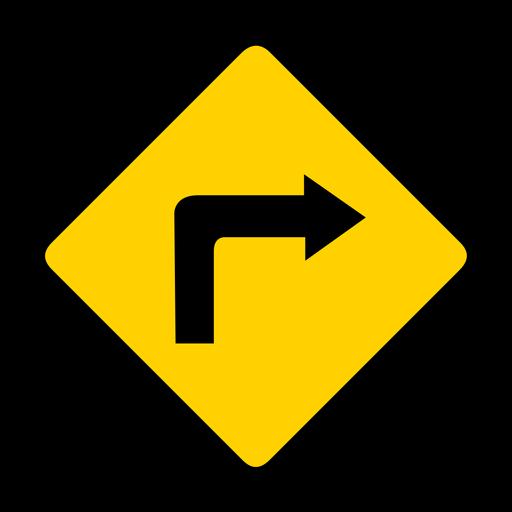 Flecha girar derecho rombo advertencia plana Transparent PNG