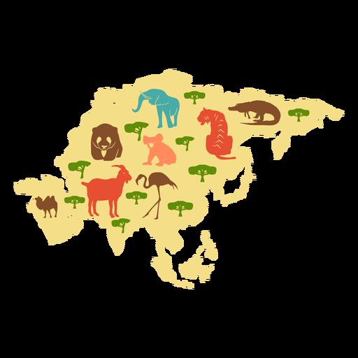 Ilustração do continente de Ásia Transparent PNG