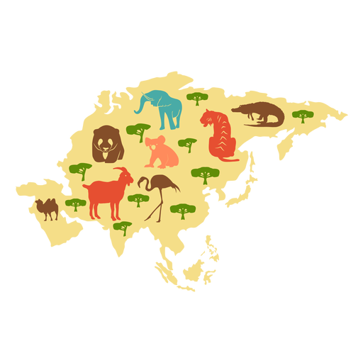 Ilustracion continente asia Transparent PNG