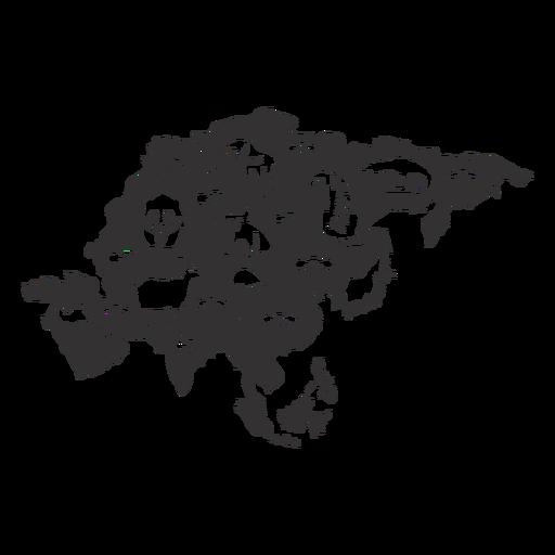 Mapa de silhueta da Ásia Transparent PNG