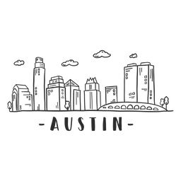 Austin bridge cathedral dome business center sky scraper mall cloud skyline sticker