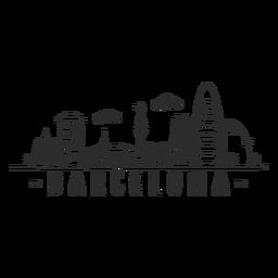 Barcelona-Monumentkathedralenbogenpalmen-Turmschloss-Skylineaufkleber