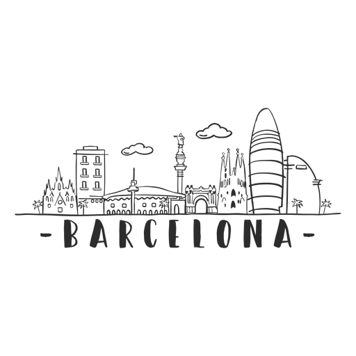 Barcelona monument cathedral arch palm tower castle skyline sticker Transparent PNG