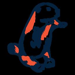 Ilustración de castor duotono