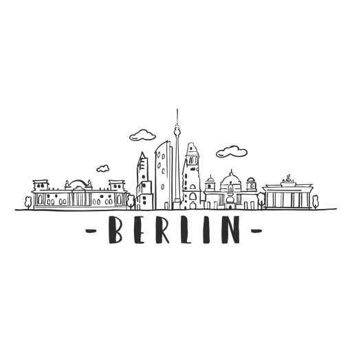 Berlin television tower reichstag brandenburg gate cathedral tower skyline sticker Transparent PNG