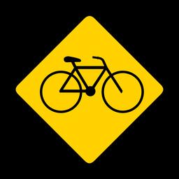 Bicicleta bicicleta rombo advertencia plana