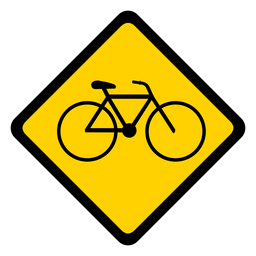 Bicycle bike rhomb warning flat
