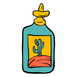 Bottle emblem cactus desert color colour sketch