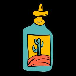 Flaschenemblemkaktuswüstenfarbfarbskizze