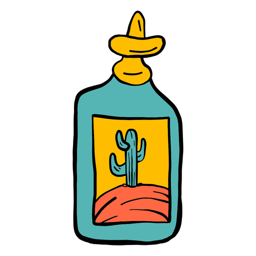 Bottle emblem cactus desert color colour sketch Transparent PNG