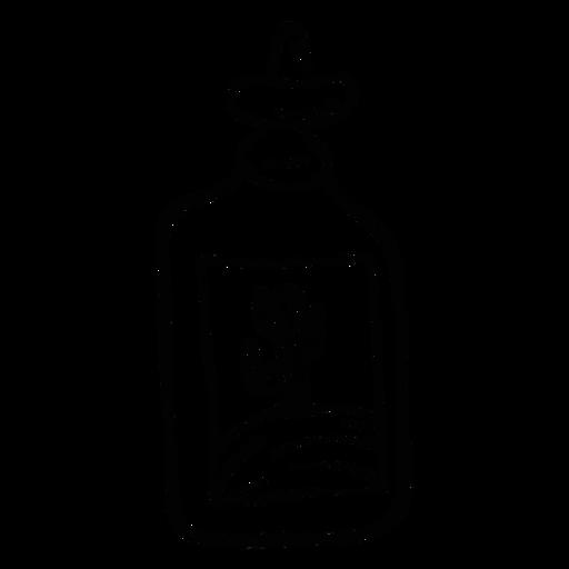 Botella emblema cactus desierto bosquejo