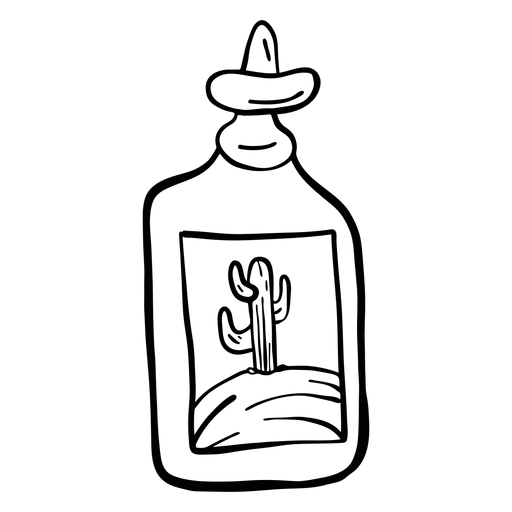 Bottle emblem cactus desert sketch Transparent PNG