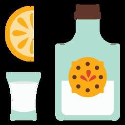 Botella emblema vaso rebanada limon naranja plano