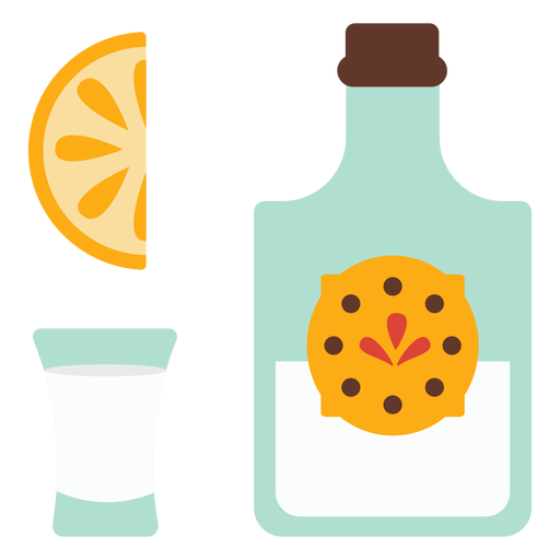 Botella emblema vaso rebanada limon naranja plano Transparent PNG