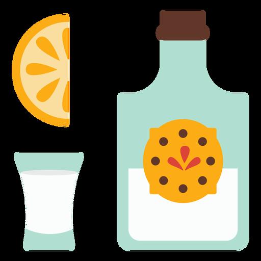 Bottle emblem glass slice lemon orange flat Transparent PNG