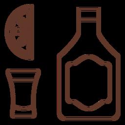 Botella emblema vidrio rebanada limón naranja trazo