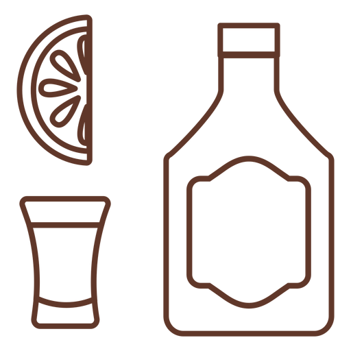 Botella emblema vidrio rebanada limón naranja trazo Transparent PNG