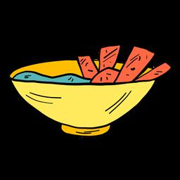 Cuenco sopera pan gachas color color boceto