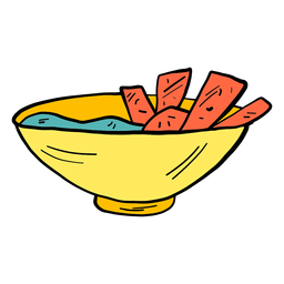 Schüsselschüsselbrotbrei-Farbfarbskizze