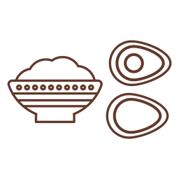 Bowl tureen porridge avocado stone pattern stroke