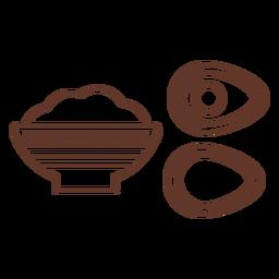 Cuenco sopera papilla aguacate piedra patrón trazo
