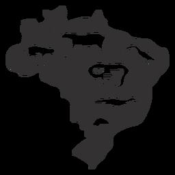 Brasilien Silhouette Karte