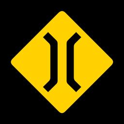 Puente estrecho de advertencia de rombo plano