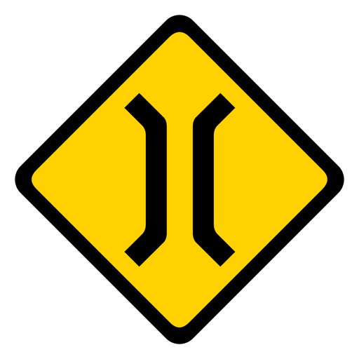 Bridge narrow rhomb warning flat Transparent PNG