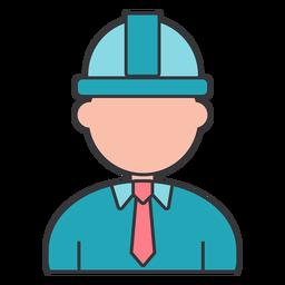 Constructor capataz casco corbata gerente plana