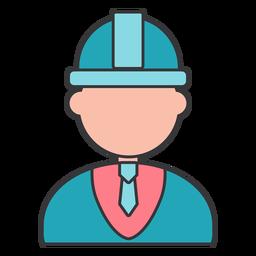 Casco constructor corbata capataz gerente plano