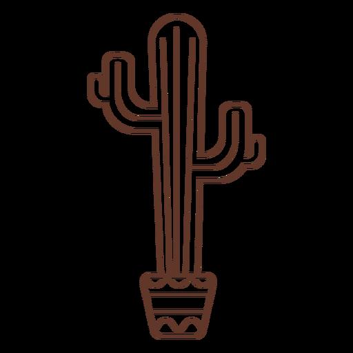 Cactus pot stroke Transparent PNG