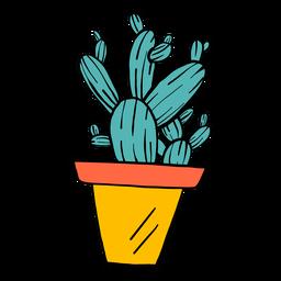 Kaktus-Topf-Dornen-Farbskizze