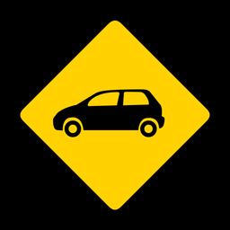 Coche automóvil rombo advertencia plana