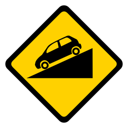 Car descending rhomb warning flat