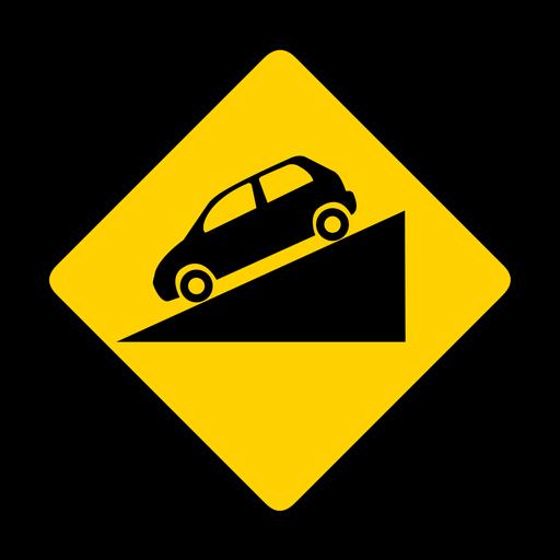 Car descending rhomb warning flat Transparent PNG